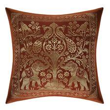 """Elephant Brocade Silk Cushion Cover Indian Bedding Sofa Pillow Case Throw 12"""""""