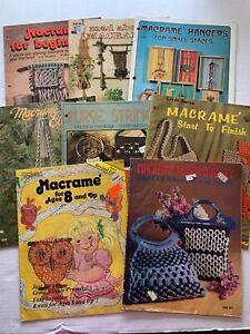 Vtg 1970s Macrame Pattern Book LOT of 8 Owl Purse Plant Hanger Bag Belt