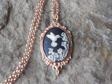 Copper Necklace - Unique, Bridal 00006000 Hummingbird (Black) Cameo Rose Gold Tone