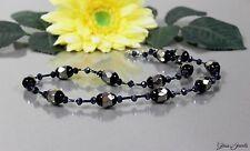 Glass Jewels Schöne Silber Kette Collier Halskette Perlen Schwarz Elegant #M074