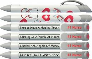 Greeting Pen Rotating Message Nurse Pen - 1 Nurse (Silver Top) 6 Pack (36546)