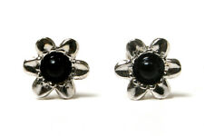 9ct White Gold Black Onyx Flower Stud Earrings Gift Boxed Made in UK