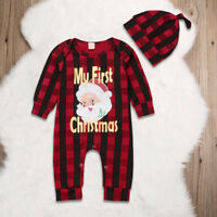 Newborn Baby Girl Boy Christmas Santa Claus Costume Clothes Outfit Romper + Hat