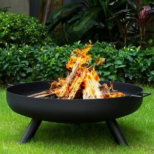 "24"" Round Fire Pit Folding Patio Garden Bowl Outdoor Camping Heater Log Burner"