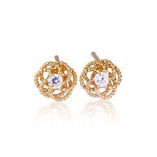 14K Gold Filled Clear CZ Twist Rose Cute Small Stud Earrings Lovely
