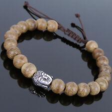 Men's Women Bracelet Braided Agarwood Sterling Silver Buddha Head Buddhism 868