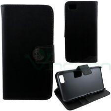 Funda BOOK eco piel para Blackberry Z10 NEGRA lucida delgado SOPORTE DE LA