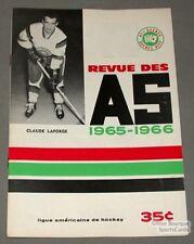 1965-66 AHL Quebec Aces Program Claude Laforge Cover