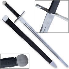 Knightly Medieval Crossguard Longsword 45.5in Sword w Wrapped Wooden Scabbard