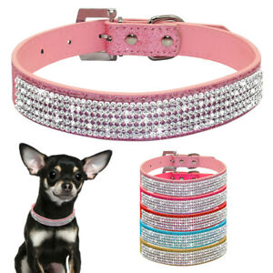 Bling Rhinestone Pet PU Leather Collar Small Medium Dogs Cats Necklace Chihuahua