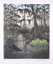 Swamp Scene by Glen P. Weber Etching (Signed & Numbered) 15 x 18
