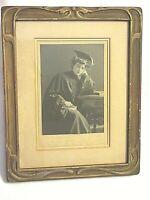 Antique Edwardian Photograph-Woman Graduate-Cap & Gown-Art Nouveau Frame-8 x 10