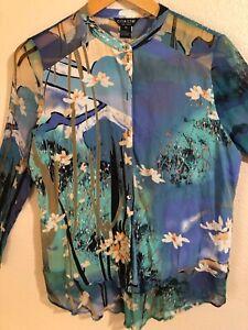 Citron Santa Monica Blue Floral XL Mandarin Silk Shirt Tailed Bottom Blouse