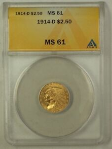 1914-D Indian Head $2.50 Gold Coin ANACS MS-61