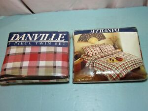 Two Vtg 80's NOS 3pc Twin Sheet Sets Danville On The Square brown plaid pattern