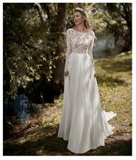 Boho White/Ivory Long Sleeve Beach Wedding Dress Lace Chiffon Custom Bridal Gown