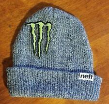 Monster Energy Beanie Athlete Gray Dew Tour Winter Rider Sponsor XGames Neff Hat