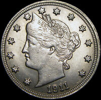 1911 Liberty V Nickel ---- GEM BU++ CONDITION ---- #A314