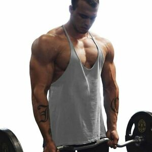 Men Gym Workout Bodybuilding Tank Top Solid Cotton Stringer Sleeveless Shirt
