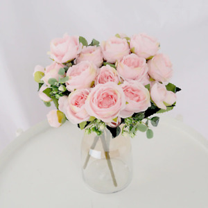 1 Bouquet 9 heads Artificial Flowers Peony Tea Rose Autumn Silk Fake Flowers