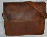 Vintage Leather Men's Handmade Brown Laptop Shoulder Satchel Messenger Bag New