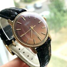 Vintage RAKETA Jeans Brown Gold Plated USSR Quality Classic Men's Wristwatch 18k