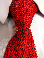Men's Solemare by Maus & Hoffman Knit Red Silk Skinny Tie Made in Italy A24100