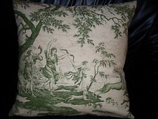 "Vintage French Toile De Jouy RARE Pillow Cushion Cover  100% cotton 20""x 20"""