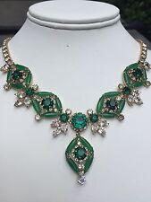 Vintage HOBE Green Rhinestone, Marquise Cabochons & Pear Rhinestone Necklace