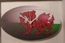 Welsh Rugby Ball novelty wooden wall clock British made from Lark Rise