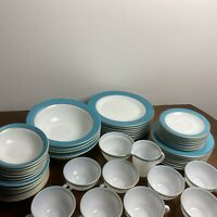 1950's Lot of 53 VTG Pyrex Turquoise & Gold Banded Bowls Plates Cups Saucers WOW