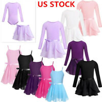 US Girls Ballet Dress Gym Dance Leotard with Tutu Wrap Skirt Dancewear Costume