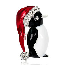 New Christmas Gift Silver Cute Penguin Brooch Diamante Crystal Enamel Broach Pin
