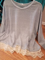 NWT Boutique Plus Size Knit Blue Crochet Trim Lace Hem Sweater Boho Top Women's