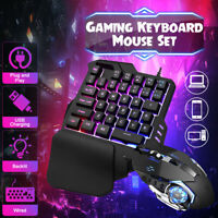 RGB LED Mini One Hand Gaming 35 keys Keyboard USB Wired Mouse for Xbox PC