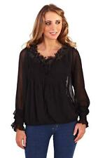 Polyester Ruffle Long Sleeve Tops & Shirts for Women