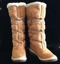 """Timberland Womens Mukluk 13"""" Pull On Mid Calf Wheat Suede Faux Fur Boots 6.5 M"""