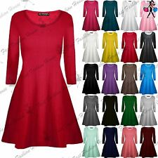Womens Plain Jersey Flared Long Sleeve Ladies Party Mini Swing Skater Dress 8-24