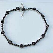 """Black Spinel Sterling Silver 7"""" Tennis Bracelet JTV DOCY913 Retired"""