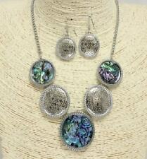 Silver and Abalone Colored FASHION Necklace Set