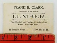 Vintage Frank Clark Lumber Yard Dover New Hampshire Business Card