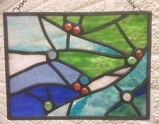 Foiled Stained Glass Panel Suncatcher Wall Hanging Seascape 27cm x 20cm F701