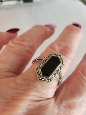 Women Lab CREATED Black Onyx AND Marasite accts sz10/sterling silver