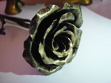 Wrought Iron Hand Forged Rose - black-gold colour