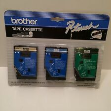 Brother P-Touch TC-40 Gold Black Blue White Red Clear Tape Cassette 3 PCS UNUSED