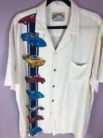Vintage Paradise Found Corvette XL Rayon Beige Hawaiian Camp Button Front Shirt
