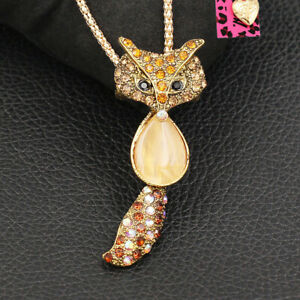 Cute Crystal Fox Pendant Sweater Chain Betsey Johnson Animal Necklace/Brooch Pin