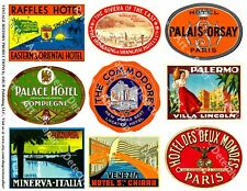 TRAVEL LUGGAGE STICKERS, 1 Sheet, 9 Hotel Label REPRODUCTIONS, Junk Journal Tags