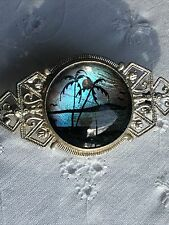 Vintage Ornate Filagree Style Brooch Butterfly Wing Tropical Paradise Scene