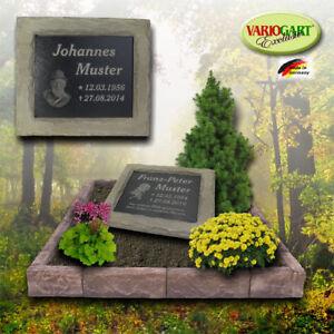 Grabplatte Grabstein Gedenkplatte Gedenkstein inkl. Gravur Bruchstein-Grau